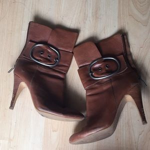 Boutique 9 Brown Leather semi pointed toe boots